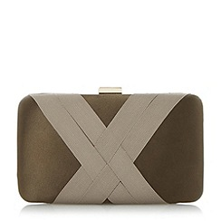 Dune - Khaki 'Bournie' grosgrain hard case clutch bag