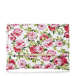 Dune - White 'Beaut' floral print flap over clutch bag