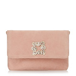 Dune - Pink jewelled brooch suede clutch bag