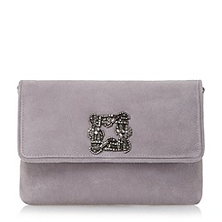 Dune - Grey jewelled brooch suede clutch bag