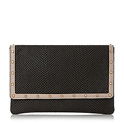 Dune - Black 'Bairo' studded envelope clutch bag