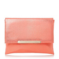 Dune - Bright snake print foldover clutch bag