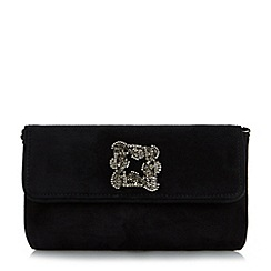 Dune - Black 'Betsey' jewelled brooch clutch bag