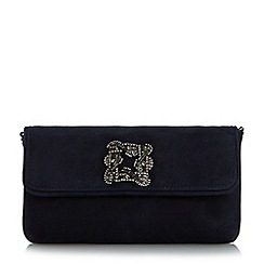 Dune - Navy 'Betsey' jewelled brooch clutch bag