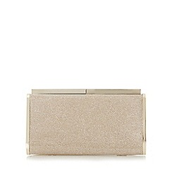 Dune - Gold 'Brixxton' rectangular hard case clutch bag