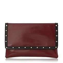 Dune - Maroon 'Bairo' studded envelope clutch bag