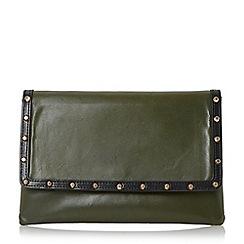 Dune - Khaki 'Bairo' studded envelope clutch bag