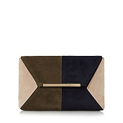 Dune - Khaki 'Batch' colour block clutch bag