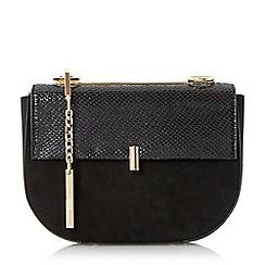 Dune - Black 'Evita' snake chain mini saddle bag