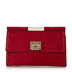 Dune - Red 'Eliana' top bar front lock clutch bag