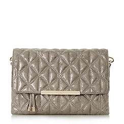 Dune - Silver 'Emeni' quilted clutch bag