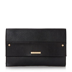 Dune - Black 'Elvina' contrast panel foldover clutch bag