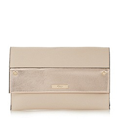 Dune - Natural 'Elvina' contrast panel foldover clutch bag
