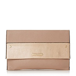 Dune - Light green 'Elvina' contrast panel foldover clutch bag