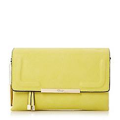 Dune - Light green 'Emory' fold over multiple compartment clutch bag