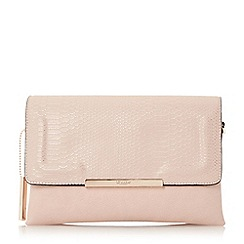 Dune - Natural 'Emory' fold over multiple compartment clutch bag