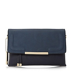 Dune - Navy 'Emory' fold over multiple compartment clutch bag