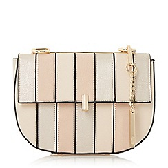 Dune - Cream 'Ellen' patchwork snake chain mini saddle bag