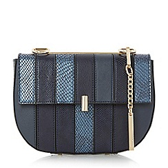 Dune - Navy 'Ellen' patchwork snake chain mini saddle bag