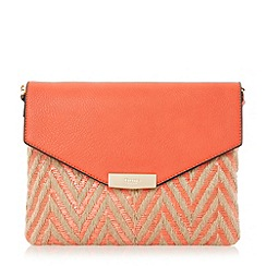Dune - Red 'Enid' raffia mix envelope clutch bag