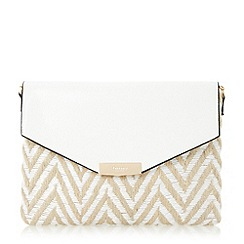 Dune - White 'Enid' raffia mix envelope clutch bag