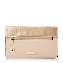 Dune - Light pink 'Evie' fold over flap and zip detail clutch bag