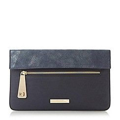 Dune - Navy 'Evie' fold over flap and zip detail clutch bag