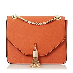Dune - Orange 'Elina' metal tassel detail boxy bag