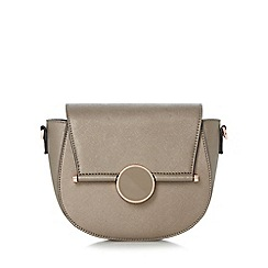 Dune - Grey 'Ebonnie' circle detail saddle bag