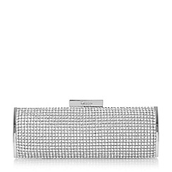 Dune - Silver 'Esmerelda' diamante hard case clutch bag