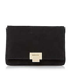 Dune - Black 'Esmay' suede square lock clutch