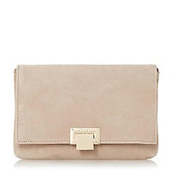 Dune - Taupe 'Esmay' suede square lock clutch