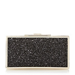 Dune - Black 'Exquisite' metal frame glitter clutch