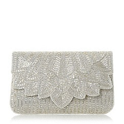 Dune - Silver 'Eloise' petal beaded clutch bag