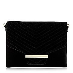 Dune - Black 'Elliemay' velvet quilted clutch bag
