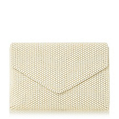 Dune - Cream 'Elenor' large beaded envelope clutch bag