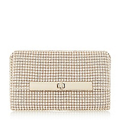 Dune - Gold 'Enya' diamante turn lock clutch bag