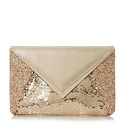 Dune - Gold 'Elliott' mixed material envelope clutch bag