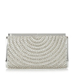 Dune - Silver 'Ebella' embellished hard case clutch bag