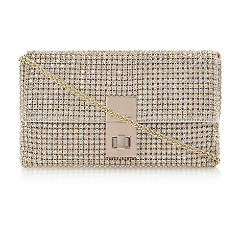 Dune - Gold +eliza+ diamante foldover clutch bag