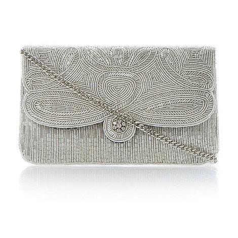 Dune - Silver swirl beaded clutch bag
