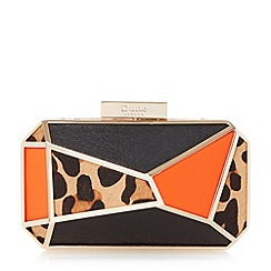 Dune - Leopard angular colour block frame clutch bag