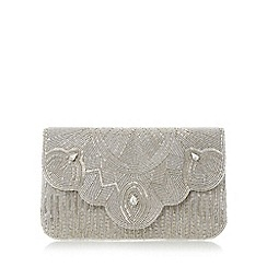 Dune - Silver 'Ekelly' fold over beaded clutch bag