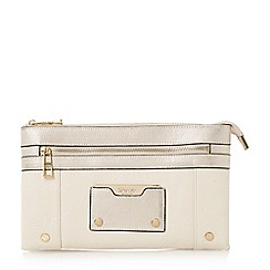 Dune - Cream 'Esarah' mixed material double pouch clutch bag