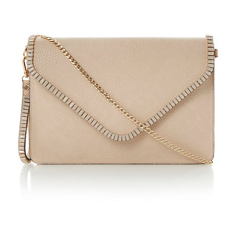 Dune - Nude gem edged envelope clutch bag