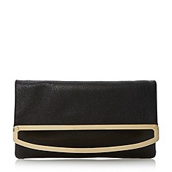 Dune - Black frame detail foldover clutch bag