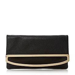 Dune - Black frame detail foldover clutch bag