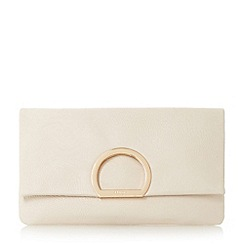 Dune - Cream 'Elex' circular detail flap over clutch bag