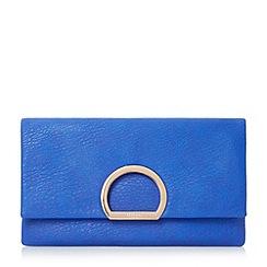 Dune - Blue 'Elex' circular detail flap over clutch bag