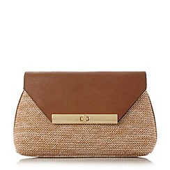 Dune - Tan 'Eugenie' envelope turn lock clutch bag